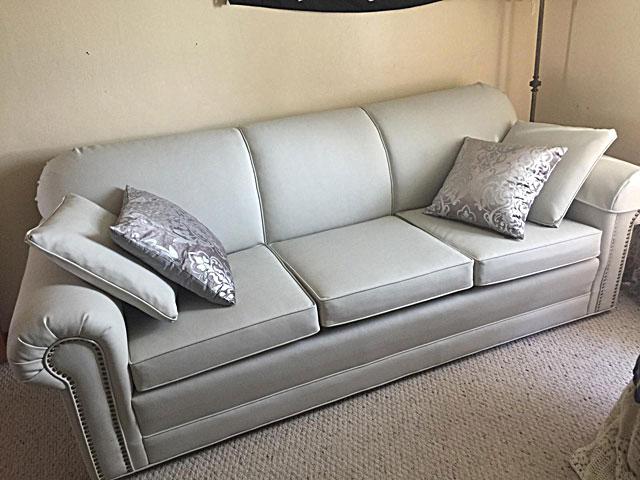 Refinished And Reupholstered Rocker; Reupholstered Sofa ...